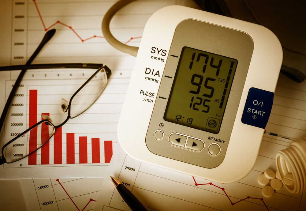 A blood pressure machine on the background of a series of graphs. Testosterone Replacement Therapy isn't for everyone and can affect your blood pressure. Learn more.